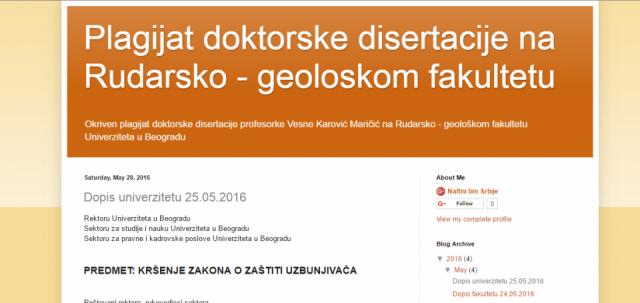 Dopis prof. dr Vladimira Mitrovića povodom sumnji na plagijat doktorske disertacije Vesne Karović Maričić