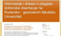 Optužba za plagijat doktorske disertacije na Rudarsko – geološkom fakultetu